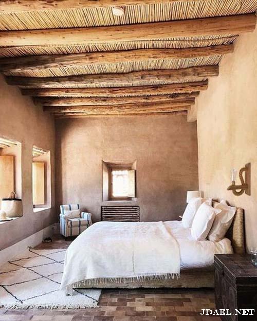 ديكور غرف نوم بالوان محايدة بتصميم الريف والمنتجعات