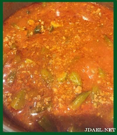 طبخ دقية بامية بمفروم اللحم